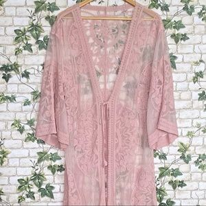 Pink lace cover robe One Size